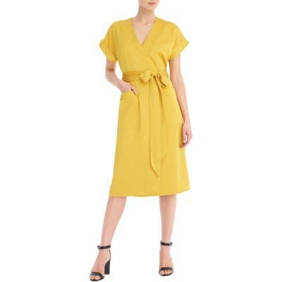 J.crew Short Sleeve Wrap Dress, Yellow