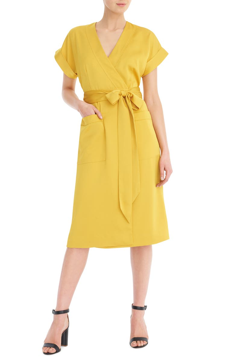 J.CREW Short Sleeve Wrap Dress, Main, color, RICH GOLD