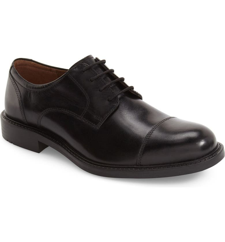 JOHNSTON & MURPHY Tabor Cap Toe Derby, Main, color, BLACK LEATHER