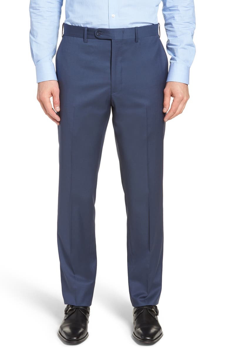 JOHN W. NORDSTROM<SUP>®</SUP> Torino Classic Fit Flat Front Solid Dress Pants, Main, color, FRENCH BLUE