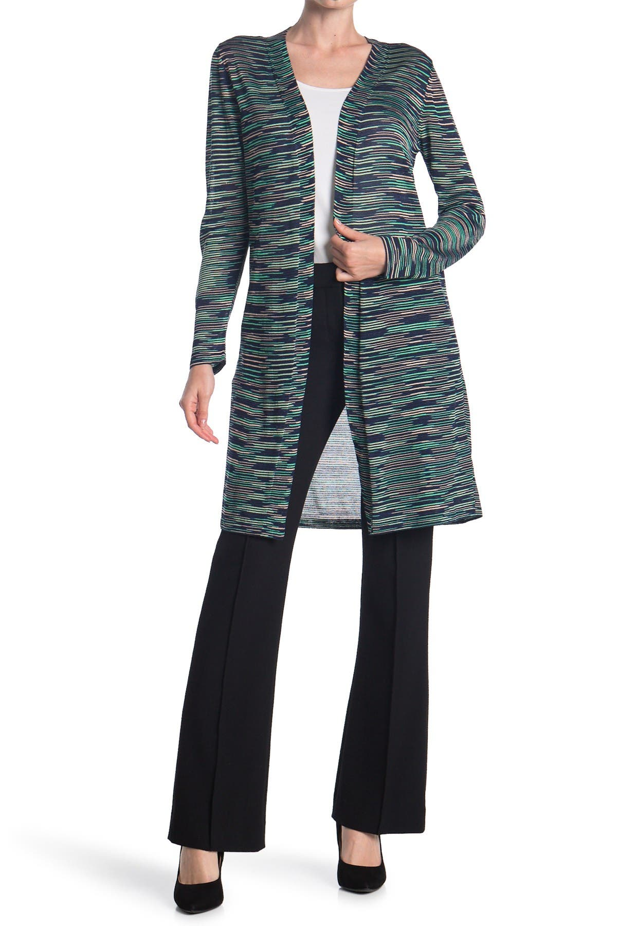Image of M Missoni Longline Patterned Knit Cardigan