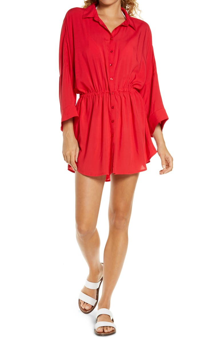 L SPACE Pacifica Cover-Up Tunic, Main, color, LIPSTICK RED