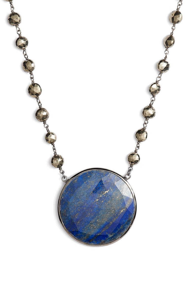 ELA RAE Morah Necklace, Main, color, PYRITE/ LAPIS DISC