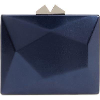 Nina Geometric Faux Leather Minaudiere - Blue