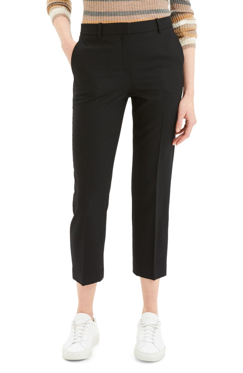 THEORY Crop Trousers, Main, color, BLACK