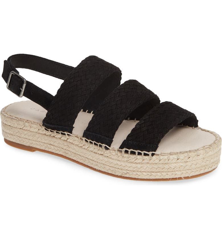 CASLON<SUP>®</SUP> Ashton Espadrille Sandal, Main, color, BLACK FAUX SUEDE