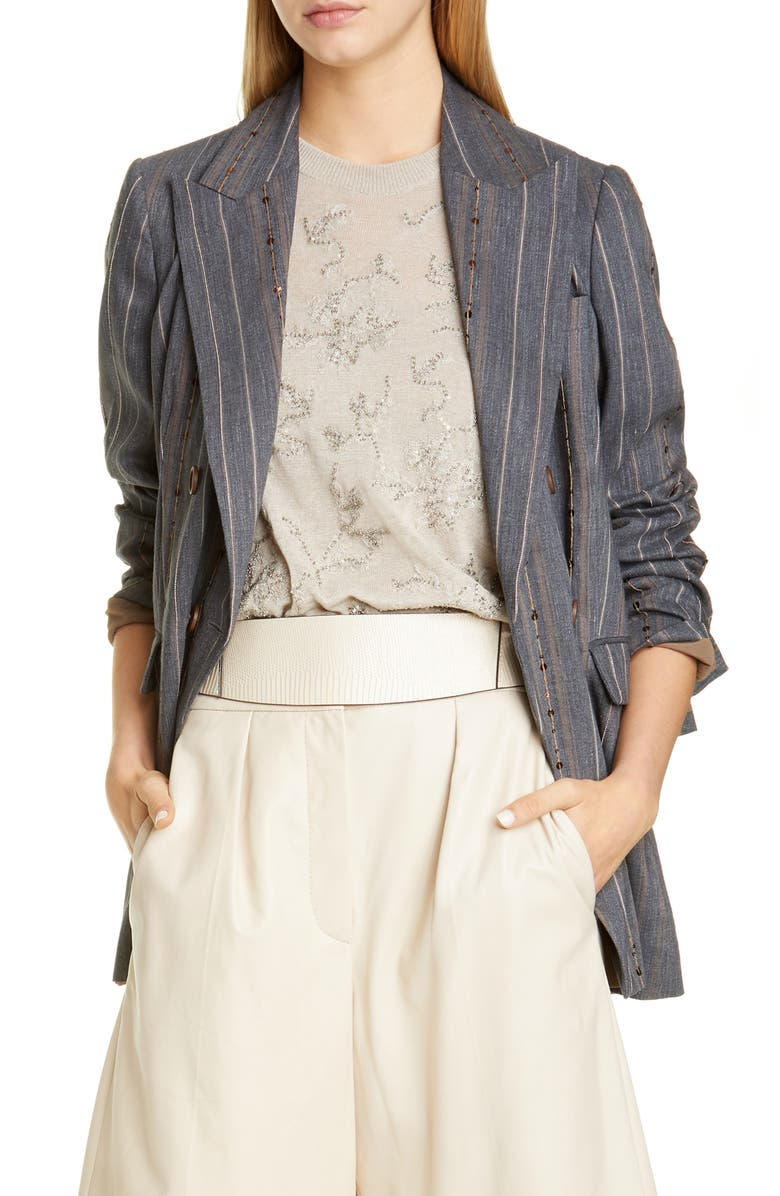 BRUNELLO CUCINELLI Embellished Stripe Blazer, Main, color, GREY BLUE