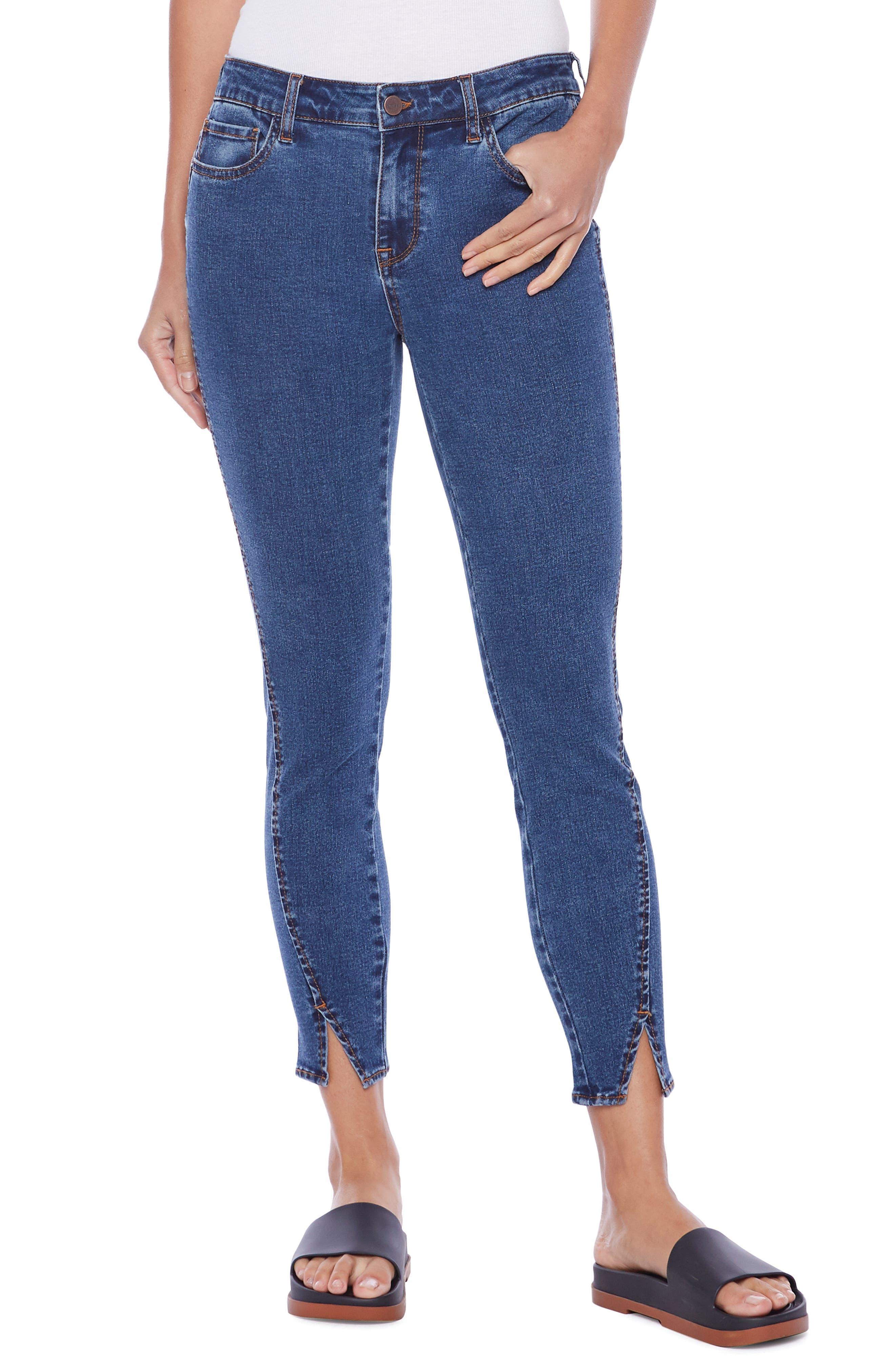 Brilliant High Waist Split Cuff Ankle Skinny Jeans