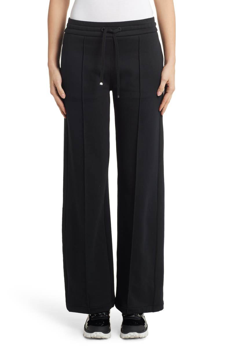 MONCLER Pintuck Wide Leg Pants, Main, color, BLACK