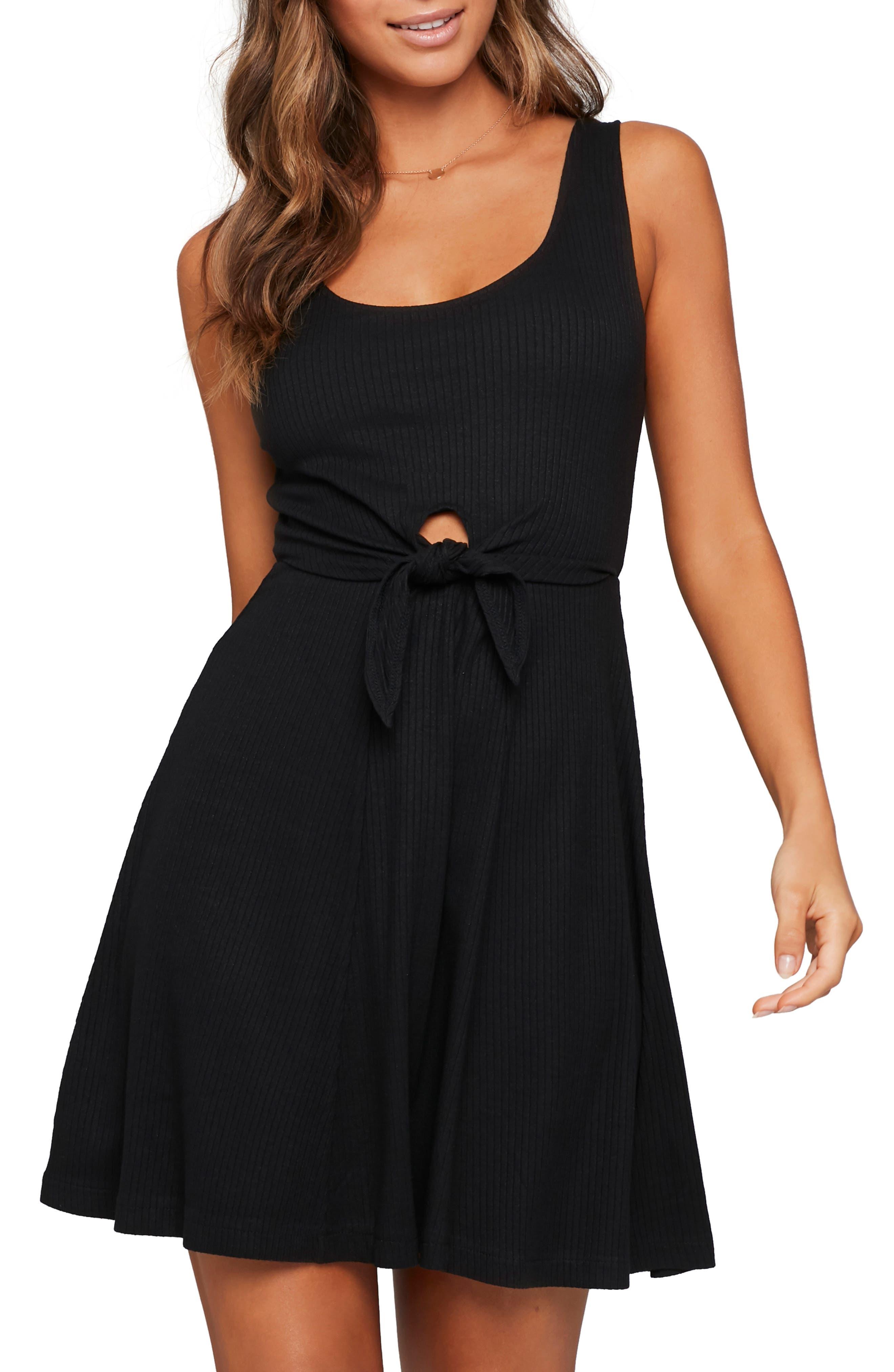 Topanga Ribbed Cover-Up Dress, Main, color, BLACK