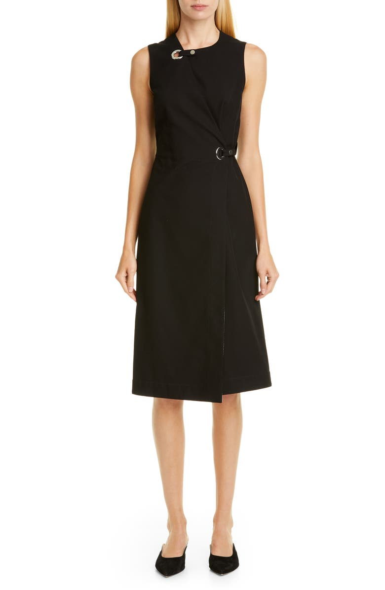 ROSETTA GETTY Grommet Wrap Dress, Main, color, BLACK