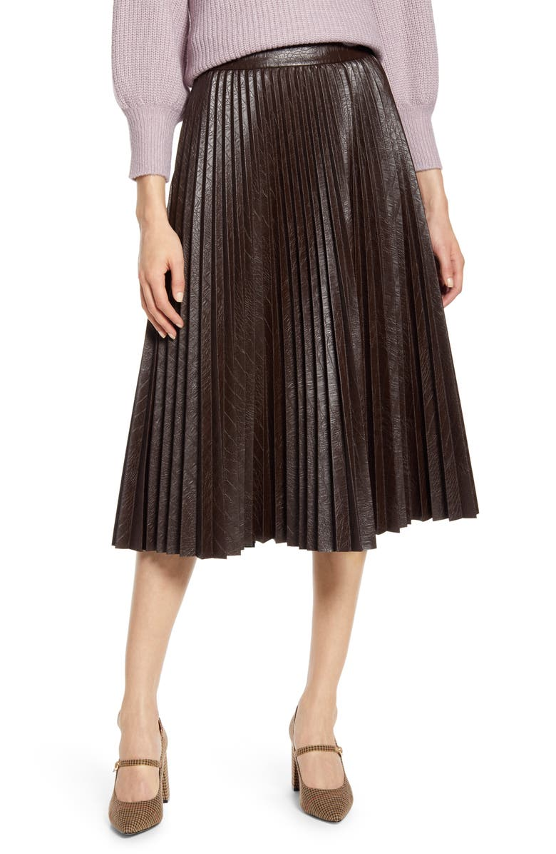 HALOGEN<SUP>®</SUP> x Atlantic-Pacific Pleated Croc Faux Leather Midi Skirt, Main, color, BROWN COFFEE