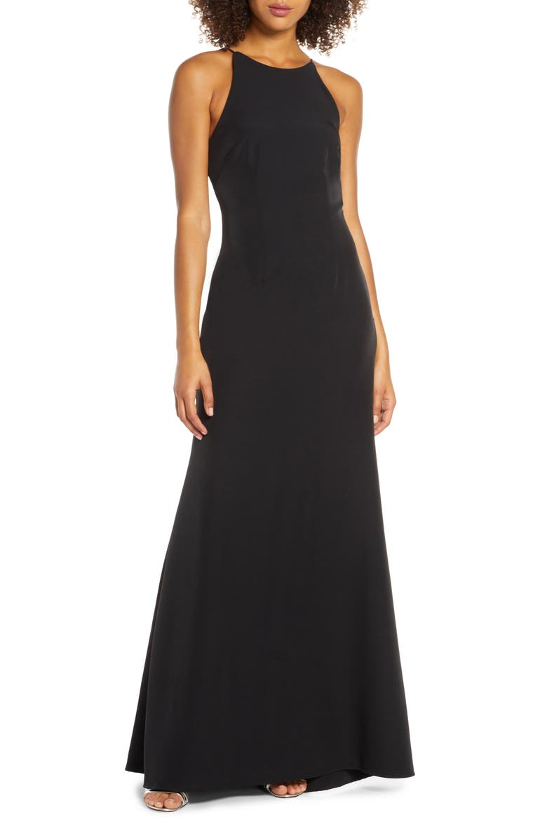 WAYF The Nina Cowl Back Gown, Main, color, BLACK