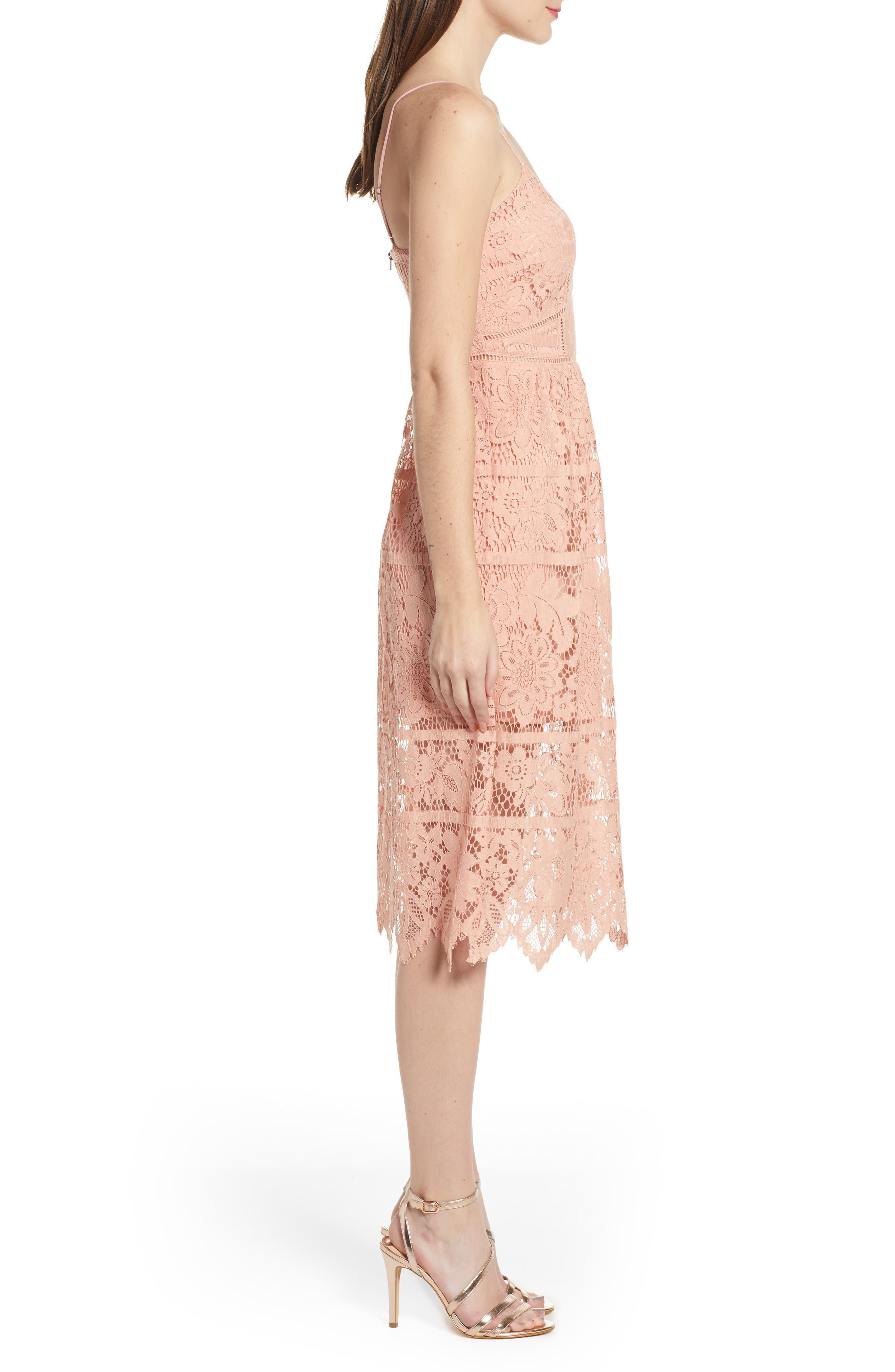 ,                             Cotton Blend Lace Midi Dress,                             Alternate thumbnail 4, color,                             PINK