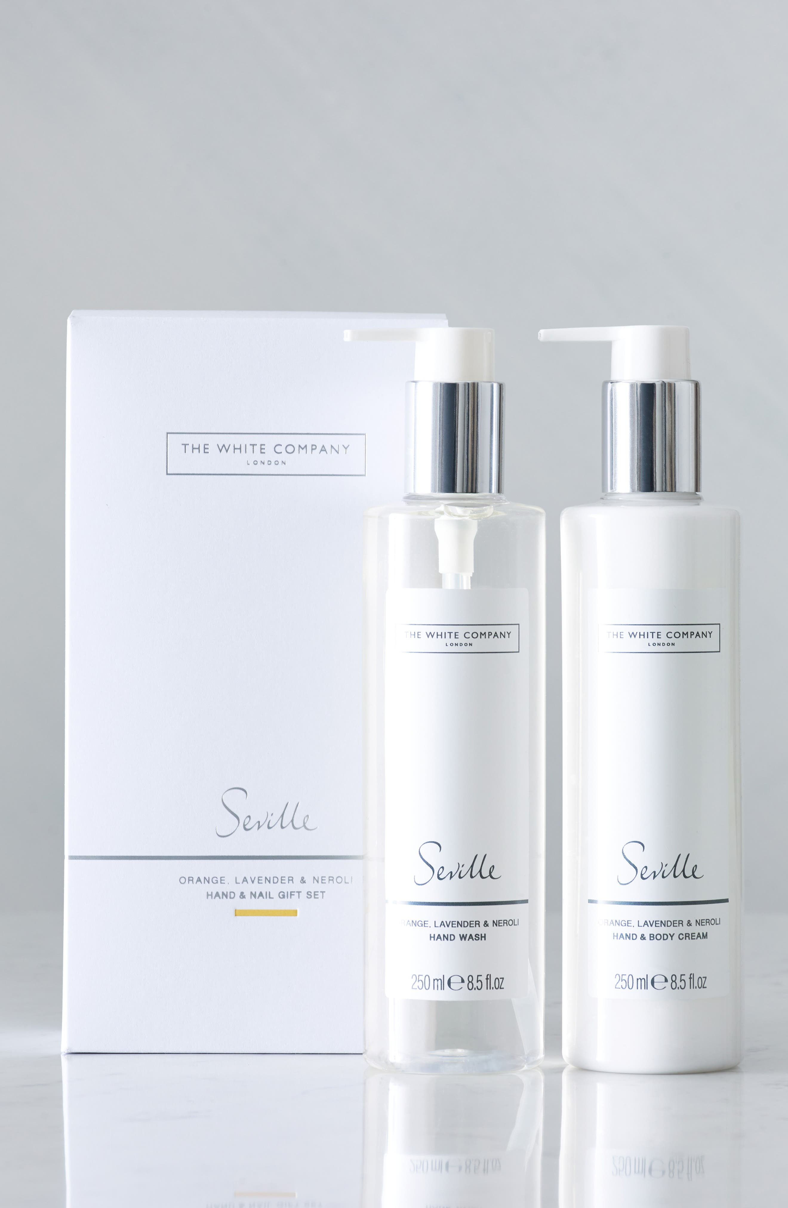 What it is: This set includes a cleansing hand wash and moisturizing hand and body cream, presented in a lovely white gift box. Fragrance story: Like a day when sunlight streams through the windows, Seville is the perfect combination of fresh, zesty orange with wonderfully peaceful, soothing, calming lavender-bliss. Style: Fresh. Set includes:- Seville Hand Wash (8.5 oz.): This foaming hand wash has a gentle but deep cleansing formula that leaves