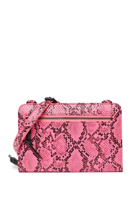 Image of French Connection Lucy Neon Snakeskin Embossed Crossbody Wallet