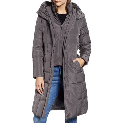 Petite Cole Haan Bib Insert Down & Feather Fill Coat, Grey