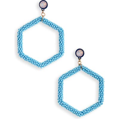 Bp. Beaded Hexagon Hoop Earrings
