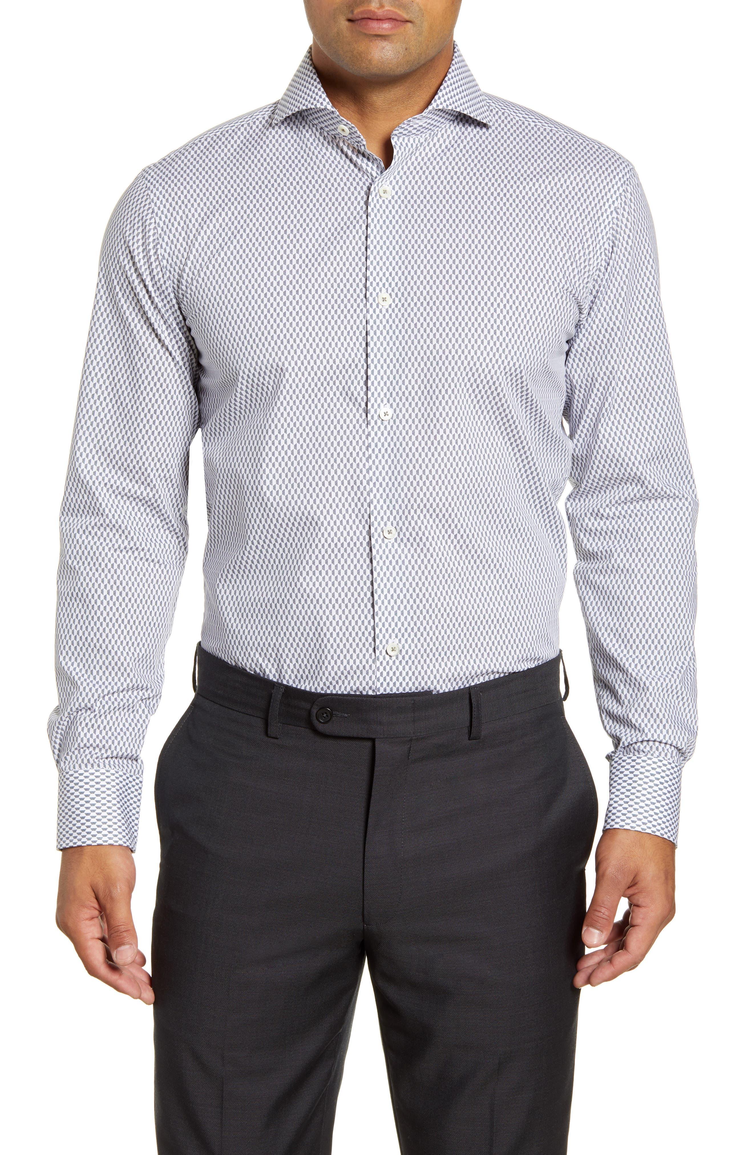 men's big & tall bugatchi trim fit micro print dress shirt, size 18 - grey