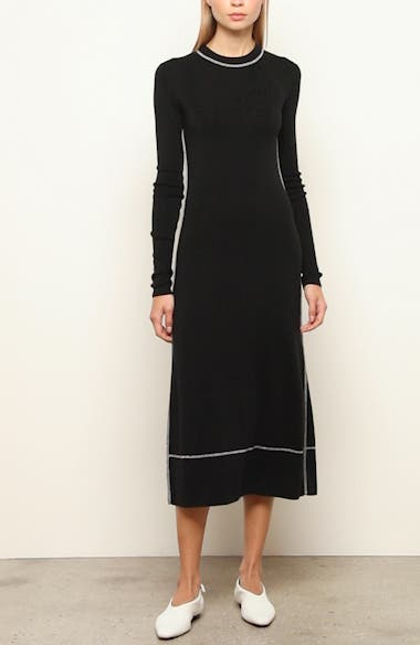 Silk Blend Long Sleeve Midi Dress, video thumbnail