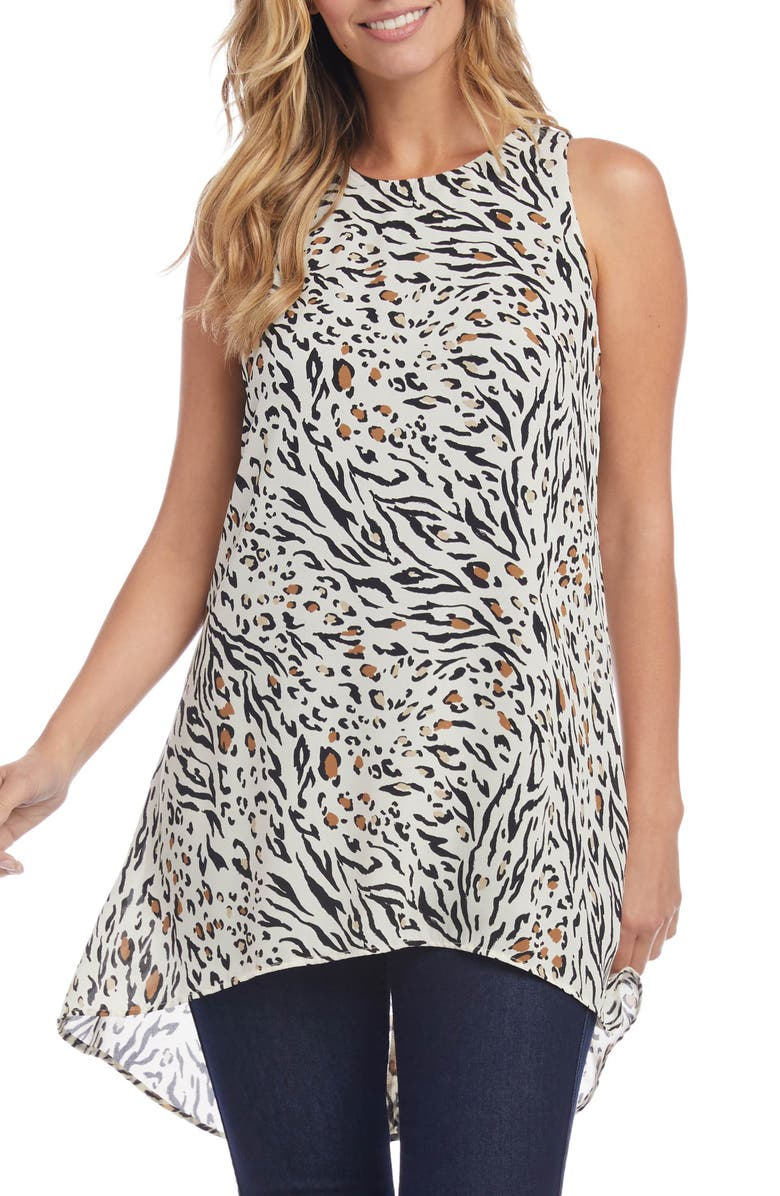 KAREN KANE Abstract Animal Print Tunic Top, Main, color, 900