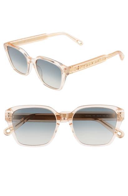 Chloé Sunglasses WILLOW 52MM SQUARE SUNGLASSES - PEACH/ BLUE