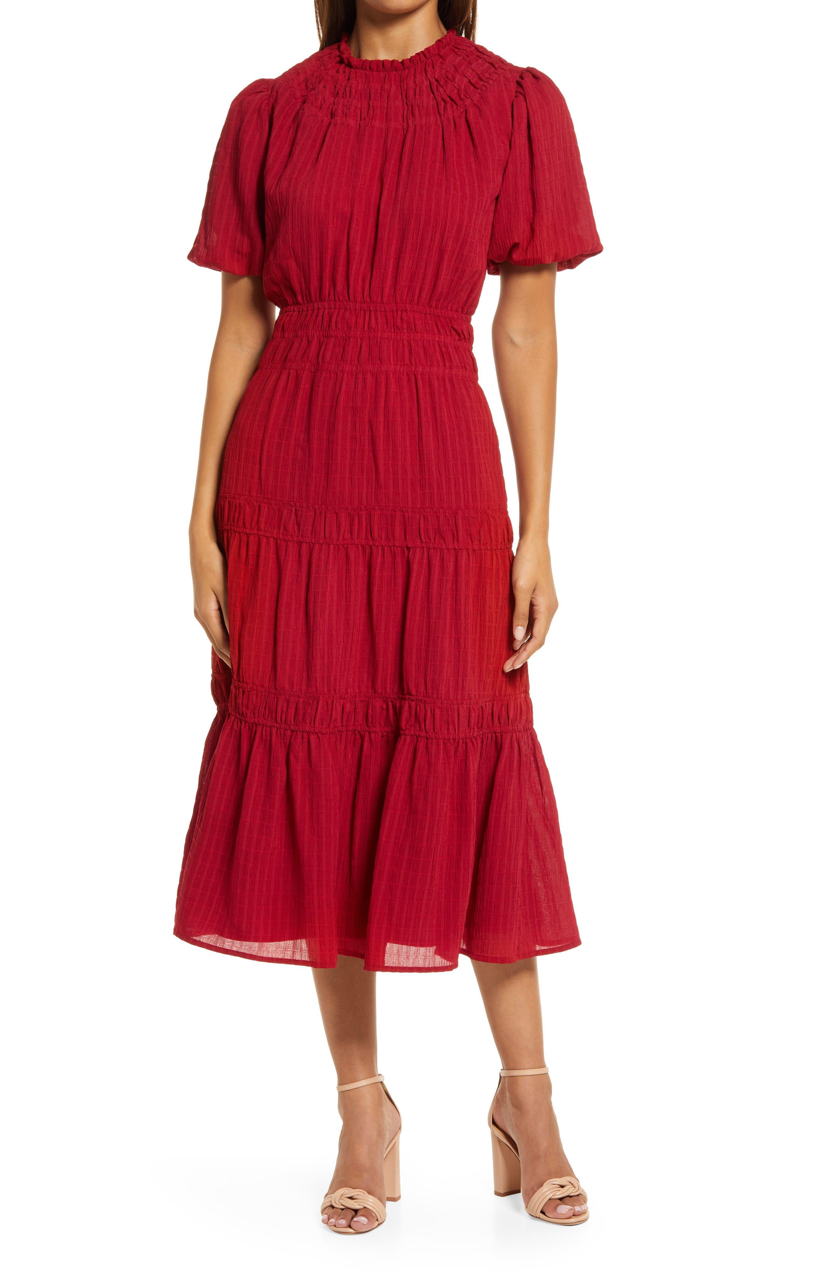 Vero Texutred Smock Detail Midi Dress