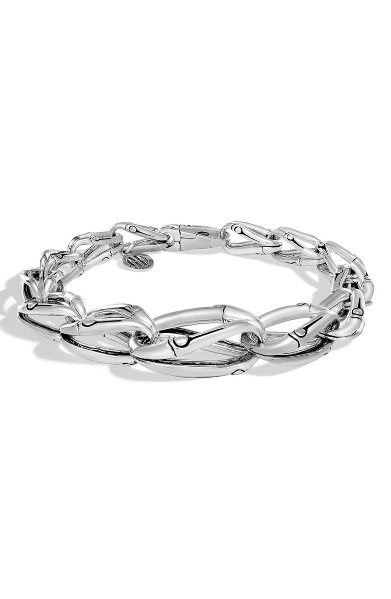 JOHN HARDY Bamboo Tapered Link Bracelet, Main, color, SILVER