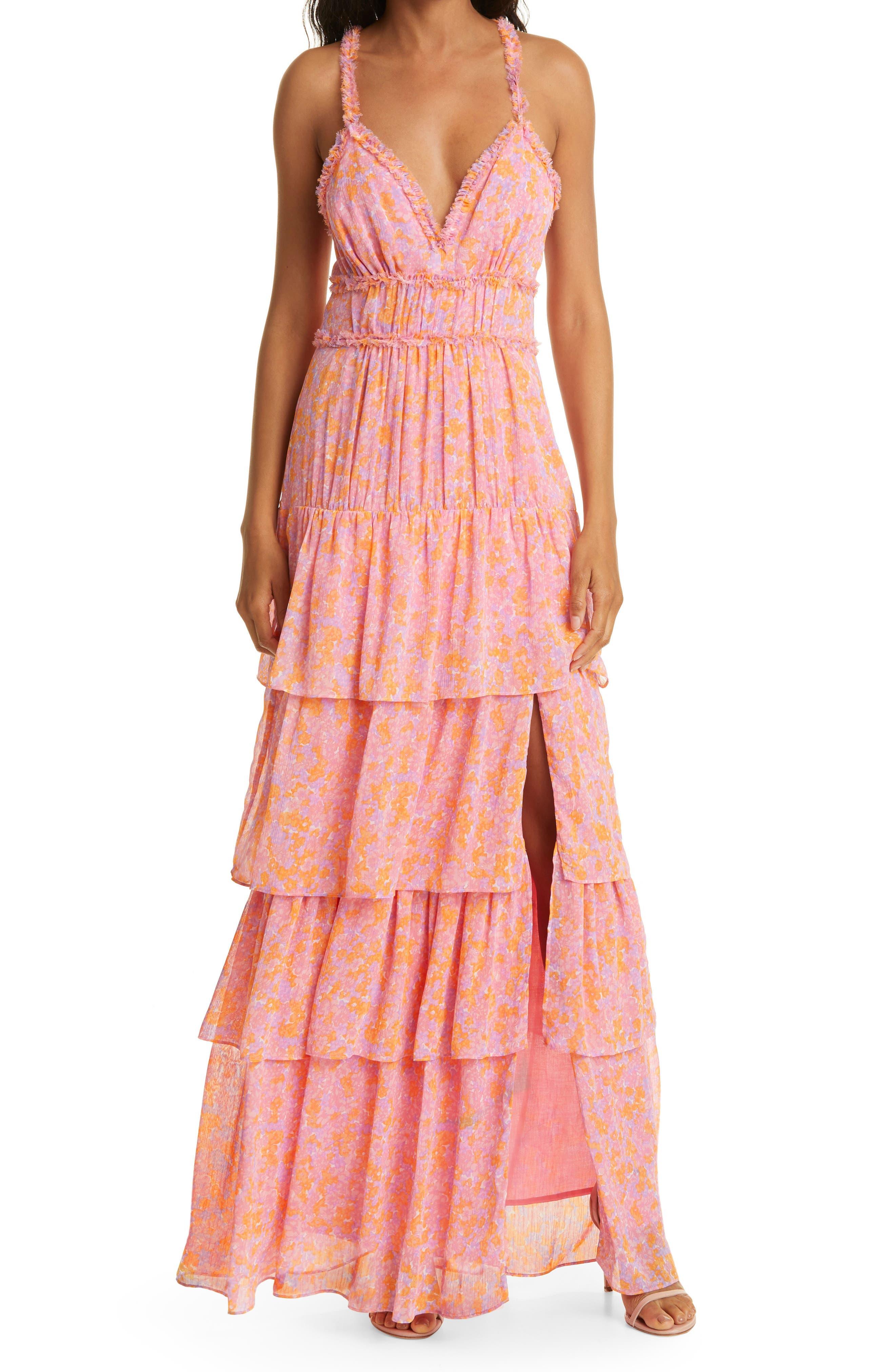 Athena Floral Print Tiered Sleeveless Dress