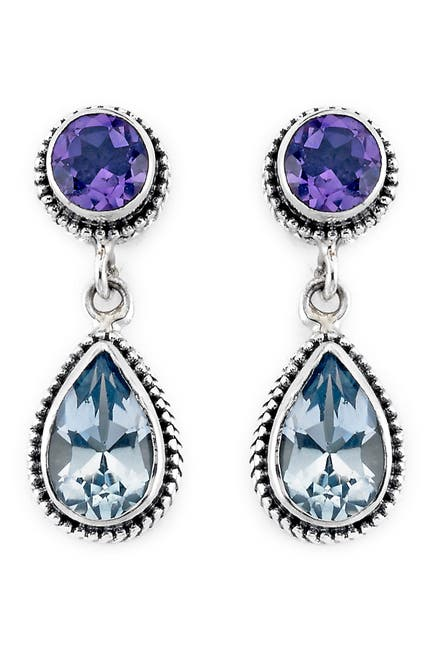 Image of Samuel B Jewelry Sterling Silver Blue Topaz & Amethyst Earrings