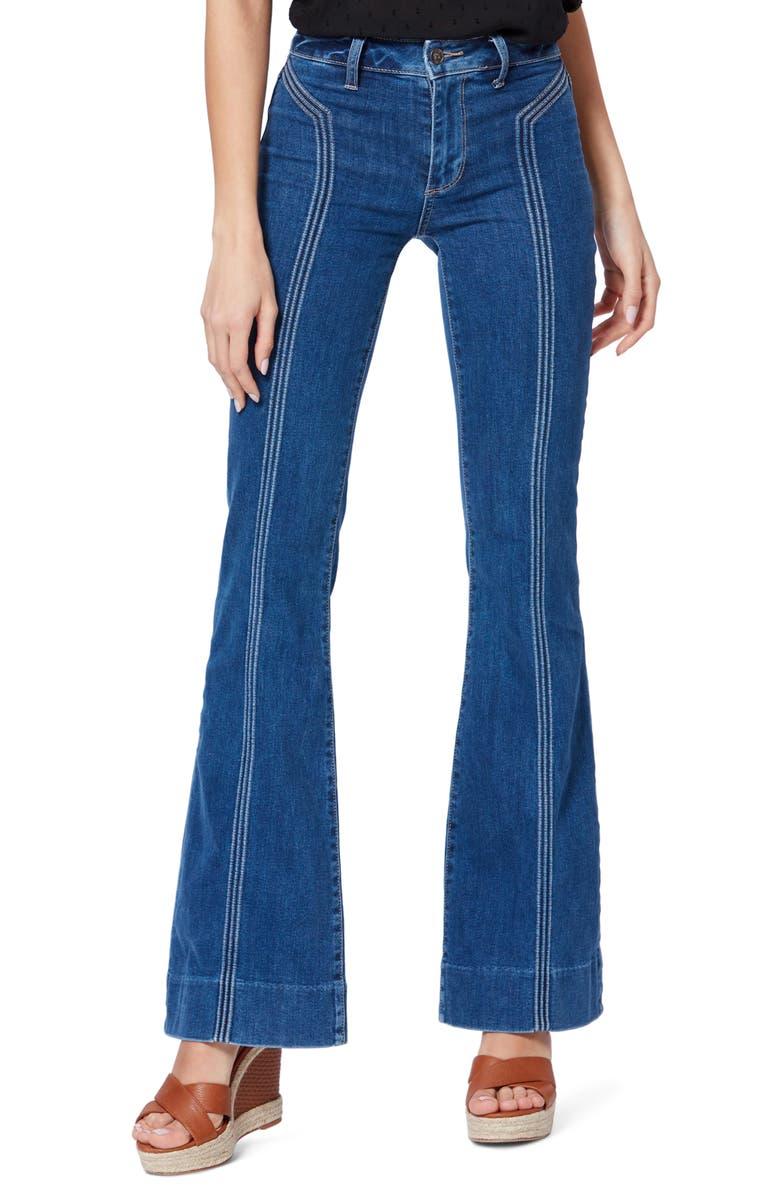 PAIGE Transcend Vintage - Genevieve Aircord High Waist Wide Leg Jeans, Main, color, 400