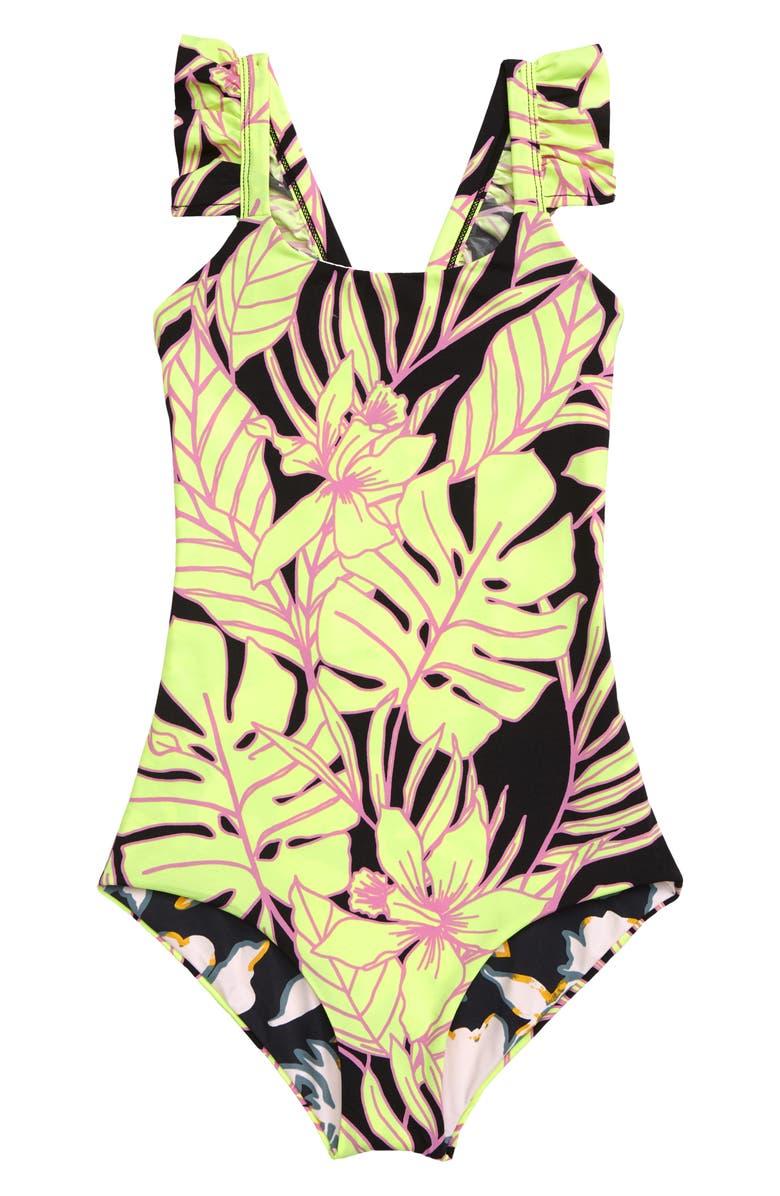 MAAJI Tropic Tropicus Reversible One-Piece Swimsuit, Main, color, BLACK