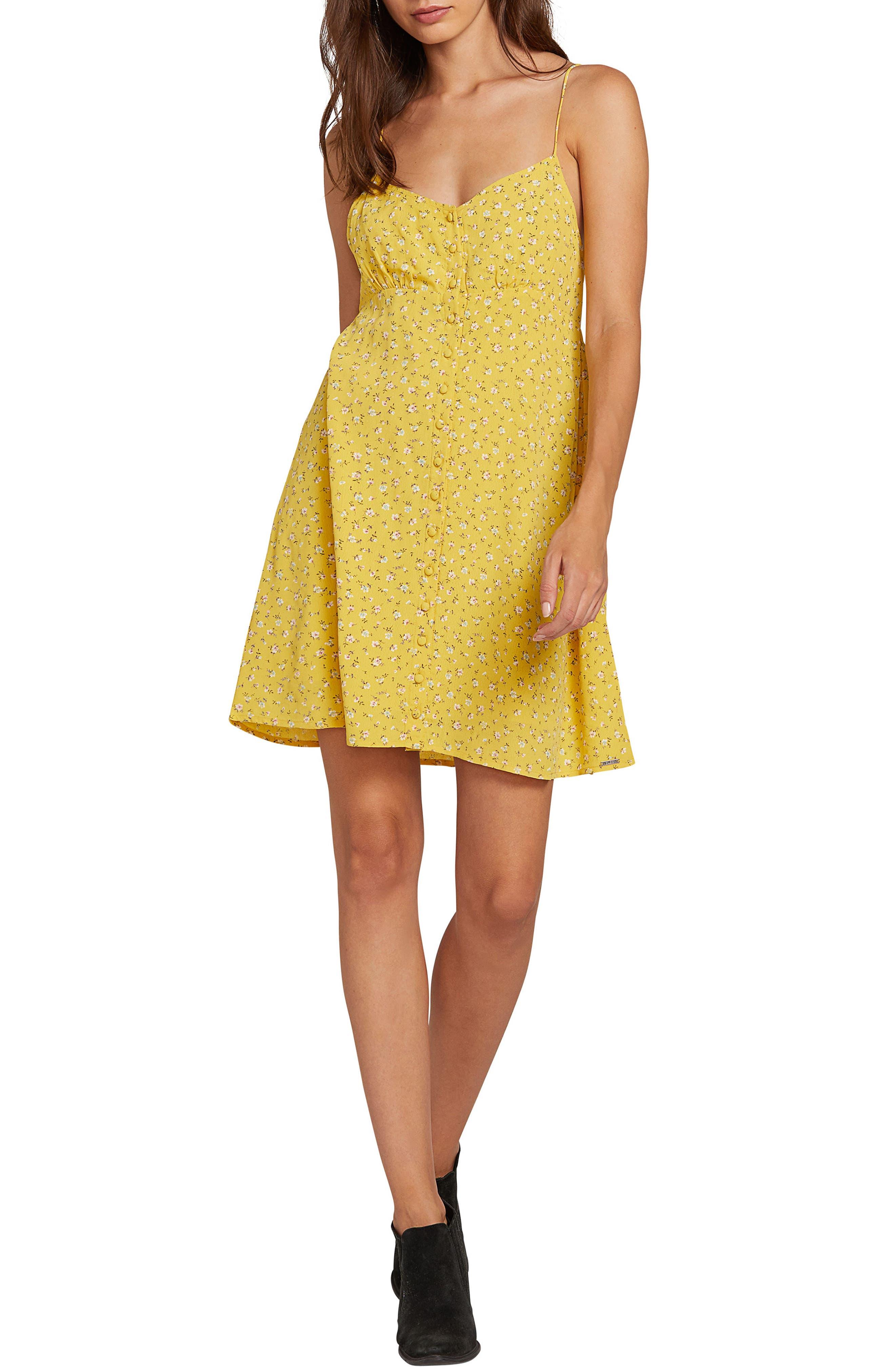 Volcom Hey Bud Print Sundress, Yellow