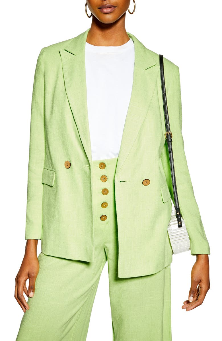 Coco Linen Blazer, Main, color, BRIGHT GREEN