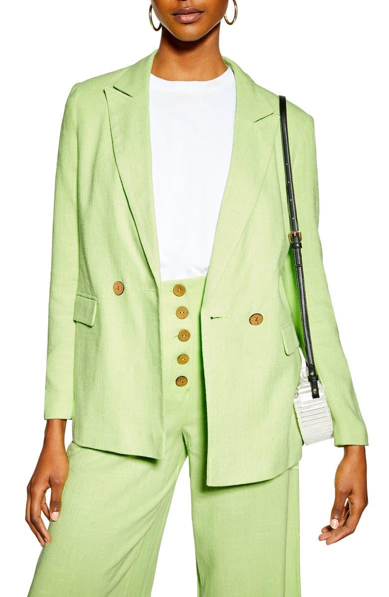 Coco Linen Blazer, Main, color, BRIGHT GREEN