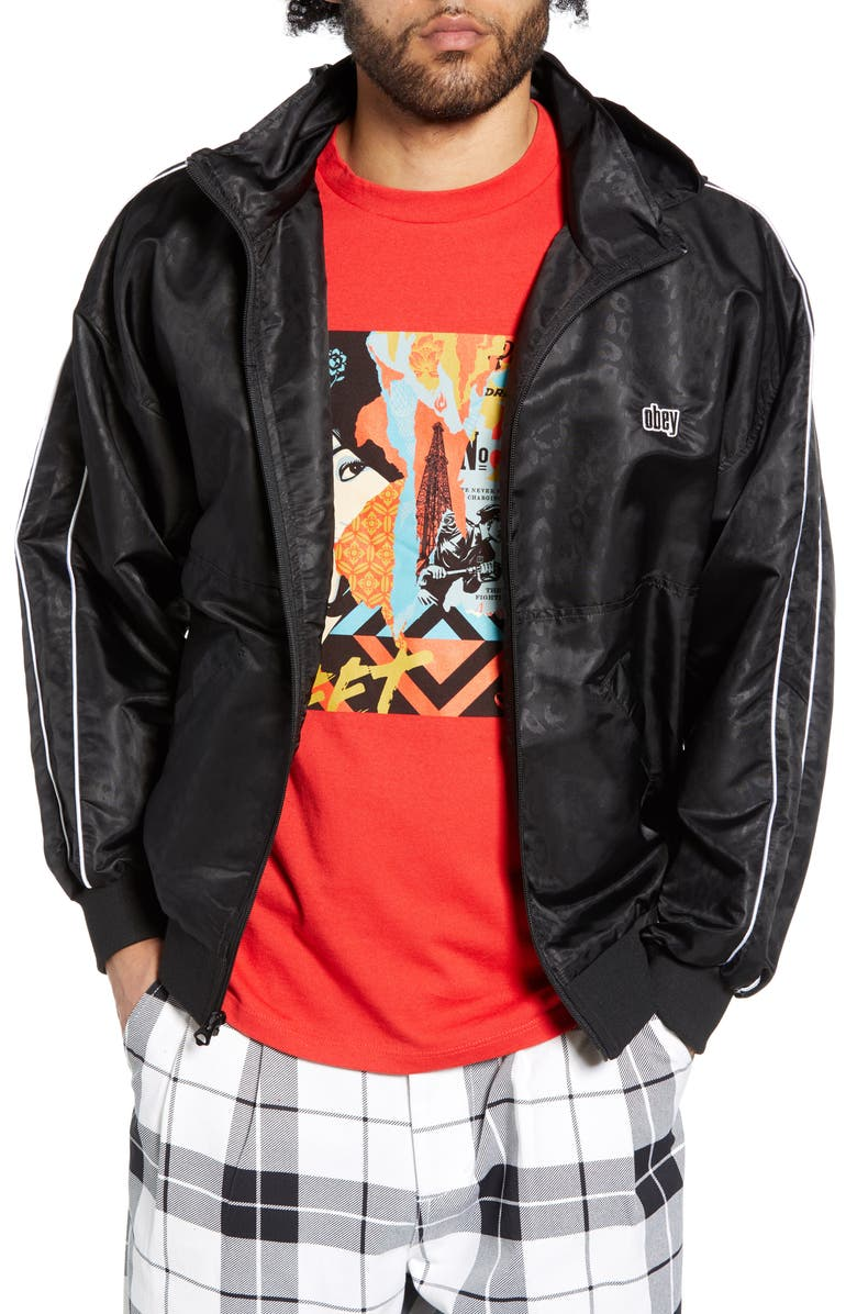 OBEY Penalty Track Jacket, Main, color, 001
