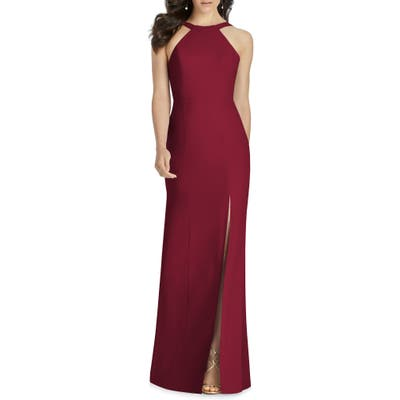 Dessy Collection Cutaway Shoulder Crepe Gown, Burgundy
