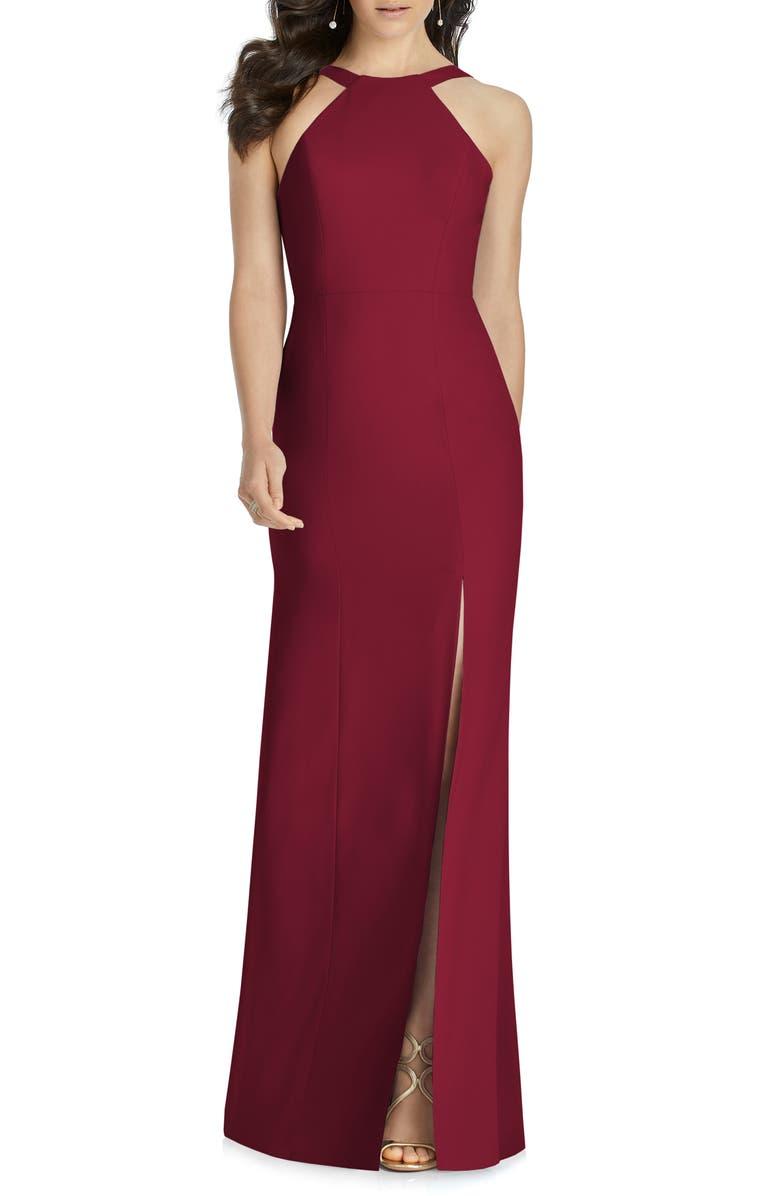 DESSY COLLECTION Cutaway Shoulder Crepe Column Gown, Main, color, BURGUNDY
