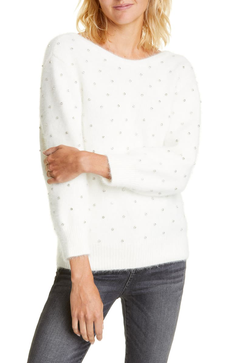 BA&SH Amby Rhinestone Detail Angora Blend Sweater, Main, color, ECRU