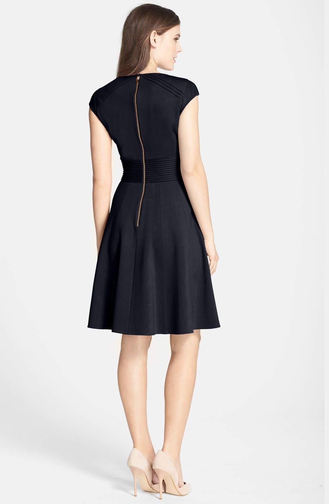 ,                             Pintucked Waist Seamed Ponte Knit Fit & Flare Dress,                             Alternate thumbnail 19, color,                             410