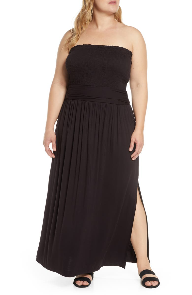 BP. Strapless Smocked Maxi Dress, Main, color, 001