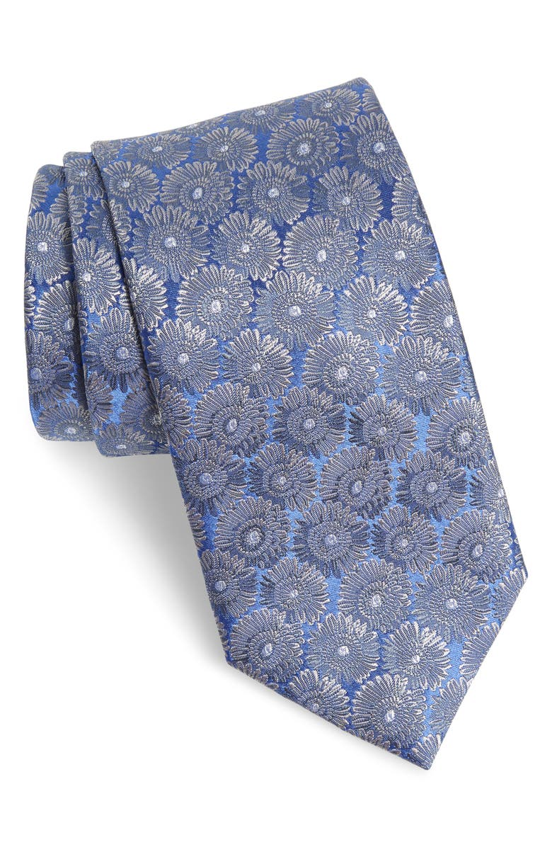 DAVID DONAHUE Floral Silk Tie, Main, color, CHARCOAL