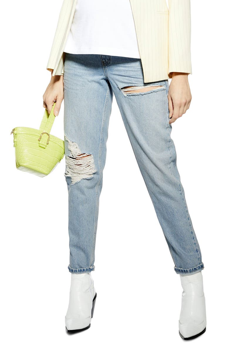 TOPSHOP Over the Bump Ripped Straight Leg Maternity Mom Jeans, Main, color, BLEACH