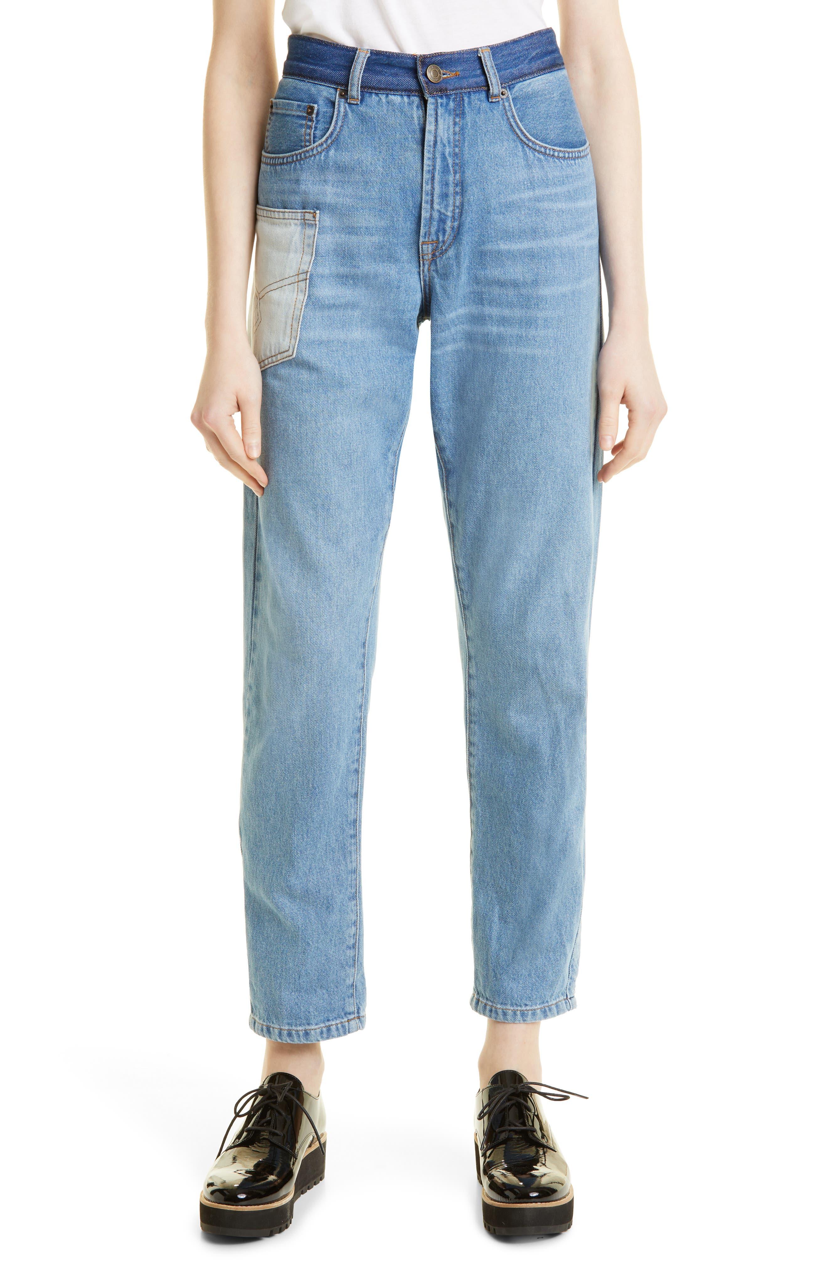 Reeta Patchwork Ankle Straight Leg Jeans