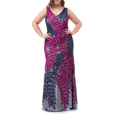 Plus Size Js Collections Two-Tone Embroidered Leaf Gown, Blue