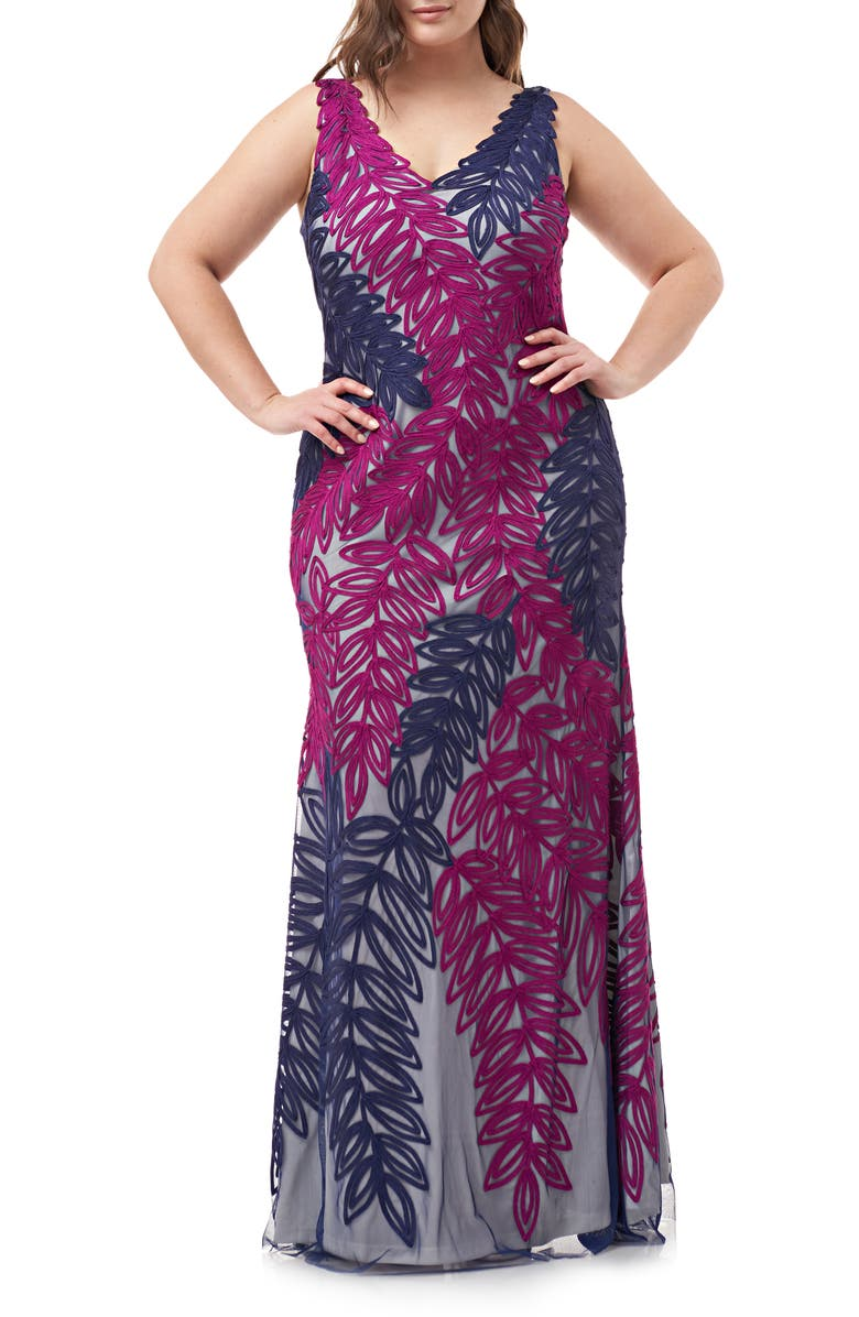 JS COLLECTIONS Two-Tone Embroidered Leaf Gown, Main, color, PLUM BERRY