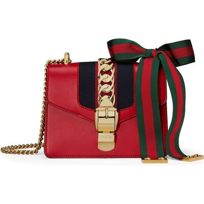 Gucci Mini Leather Shoulder Bag - Red
