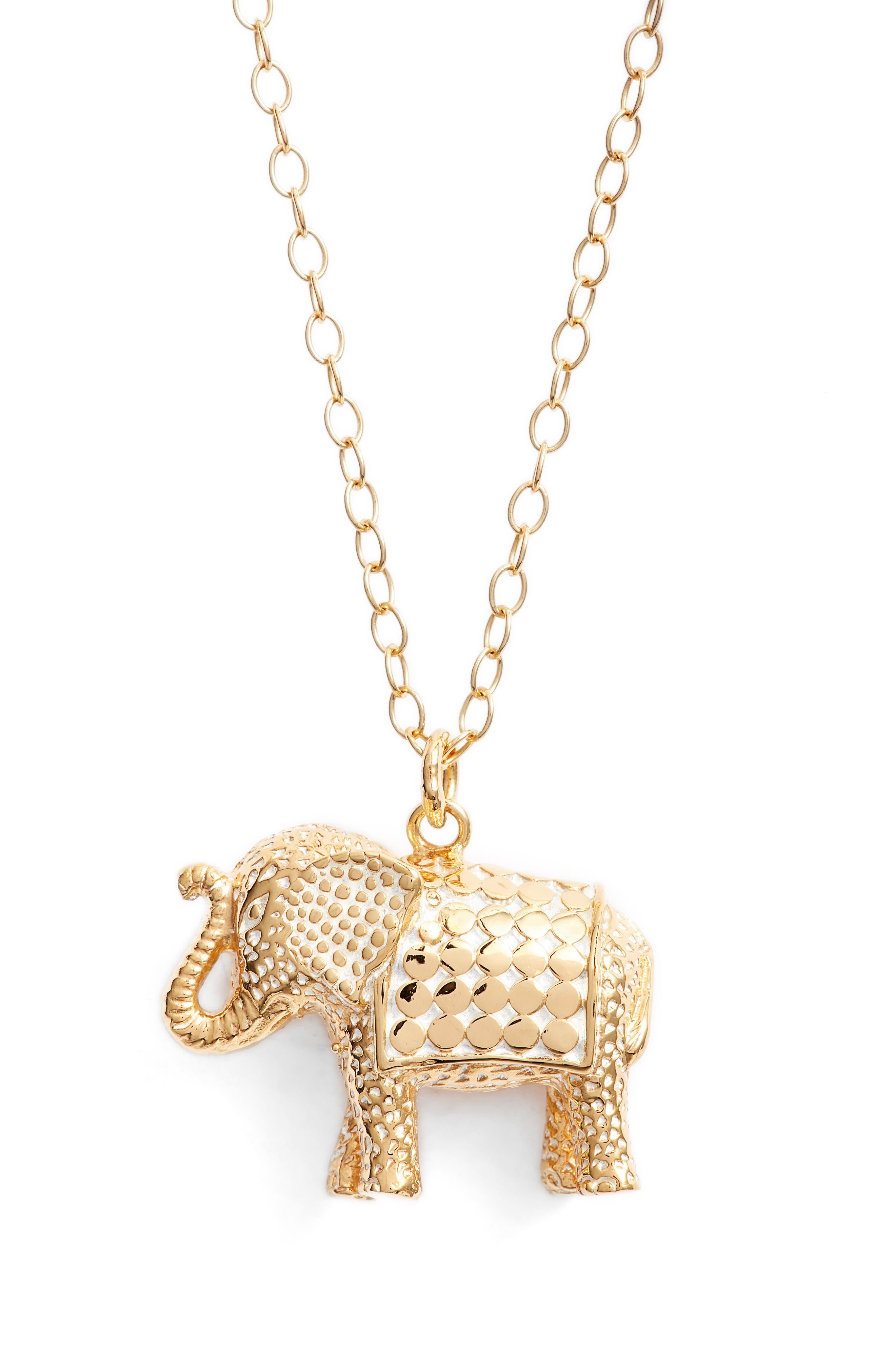 Long Elephant Pendant Necklace