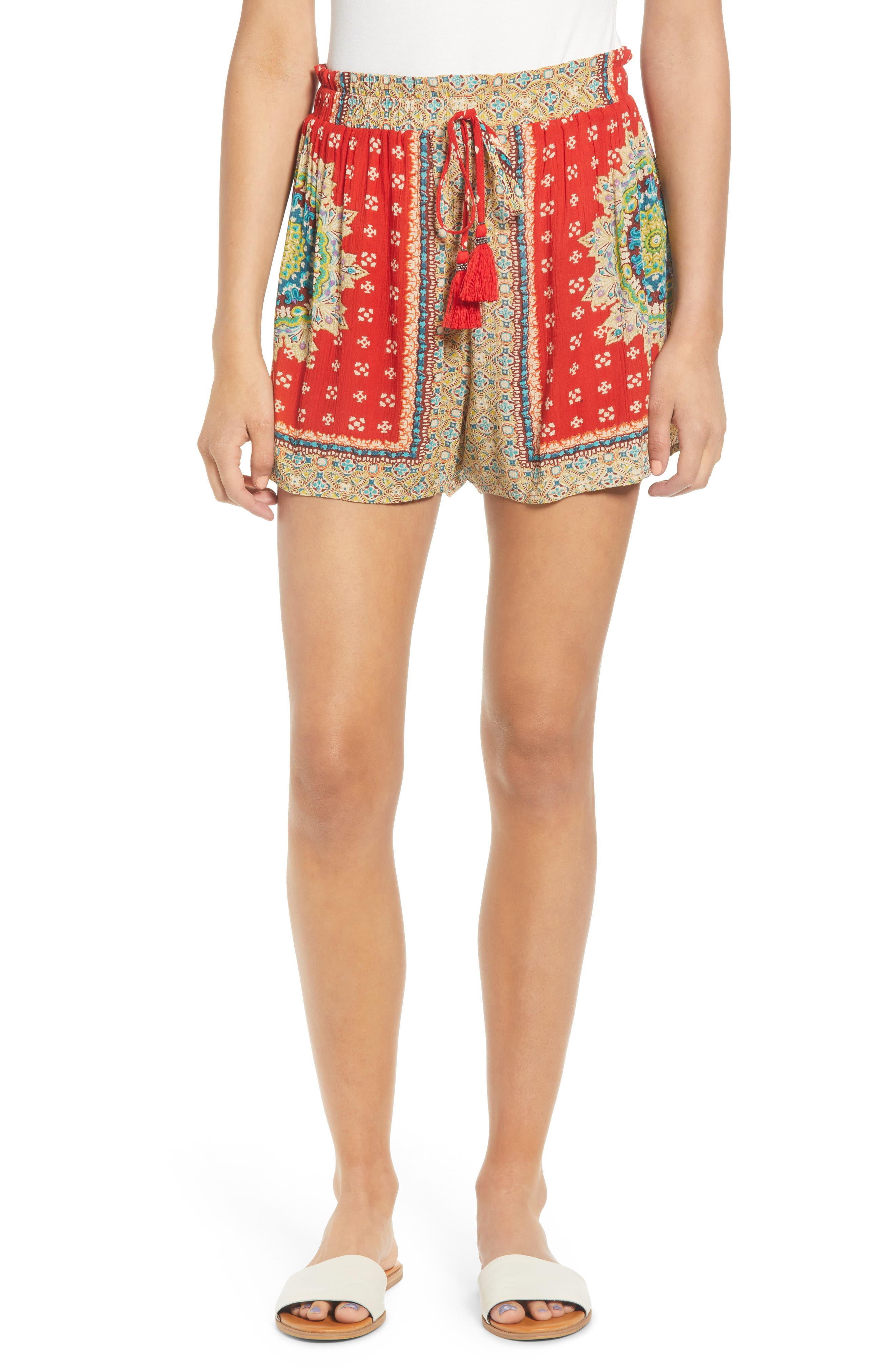 Band Of Gypsies Venice Print Tassel Shorts, Red