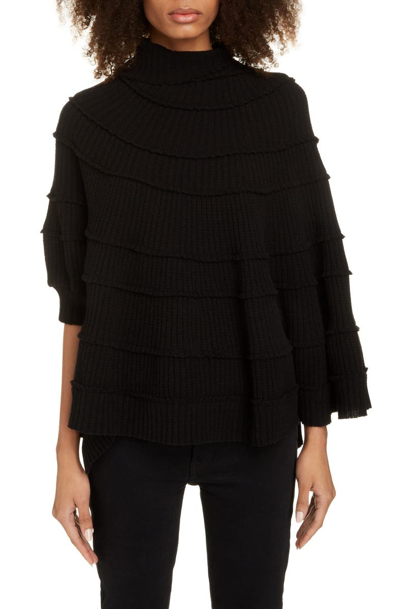Y'S BY YOHJI YAMAMOTO Spiral Cape Wool Turtleneck, Main, color, BLACK